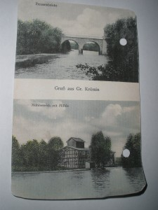 Persante und Mühlenteich in Groß Krössin, alte Ansichtskarte vor 1945