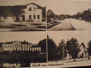 Ansichtskarte aus Naseband vor 1945 mit Dorfstraße, Kirche, Gaststätte und Schlosß
